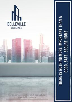 Real Estate Advertisement with Modern City Skyscrapers