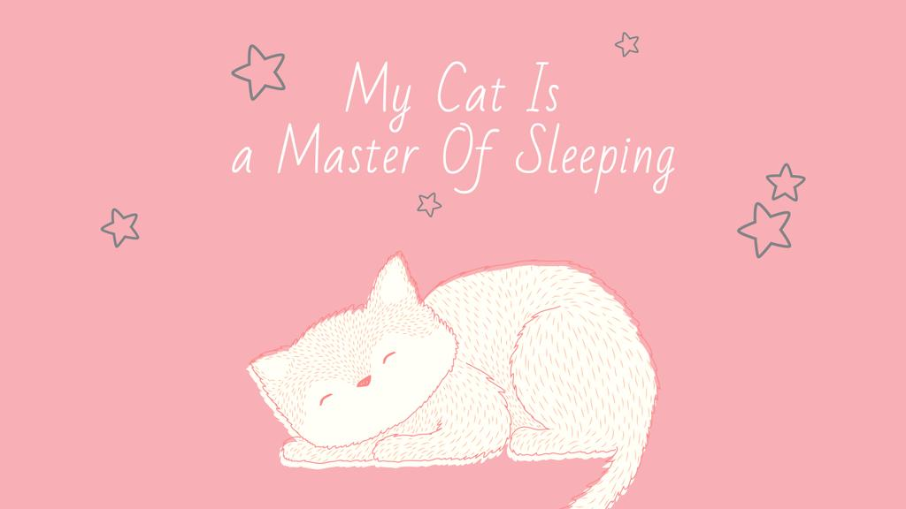 Cute Cat Sleeping in Pink | Youtube Channel Art — ein Design erstellen