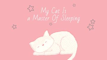 Cute Cat Sleeping in Pink | Youtube Channel Art