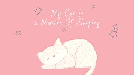 Plantilla de diseño de Cute Cat Sleeping in Pink Youtube