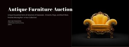Antique Furniture Auction with Luxury Yellow Armchair Facebook cover – шаблон для дизайну