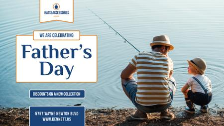 Father's Day Offer Dad and Son Fishing Together FB event cover Modelo de Design
