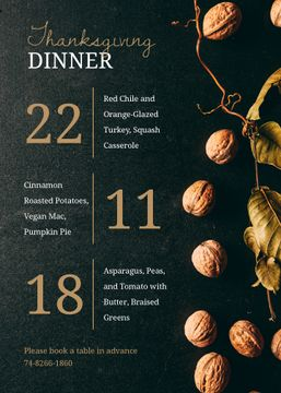 Thanksgiving Dinner invitation with walnuts