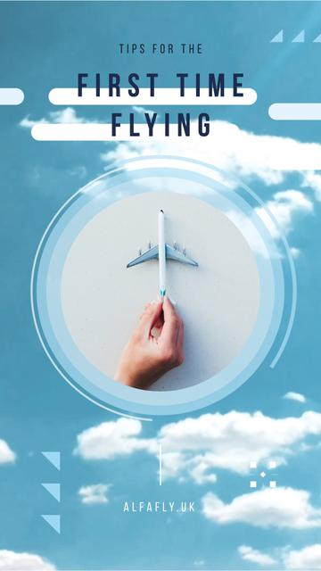 Flying Tips Hand with Toy Plane Instagram Video Story Modelo de Design
