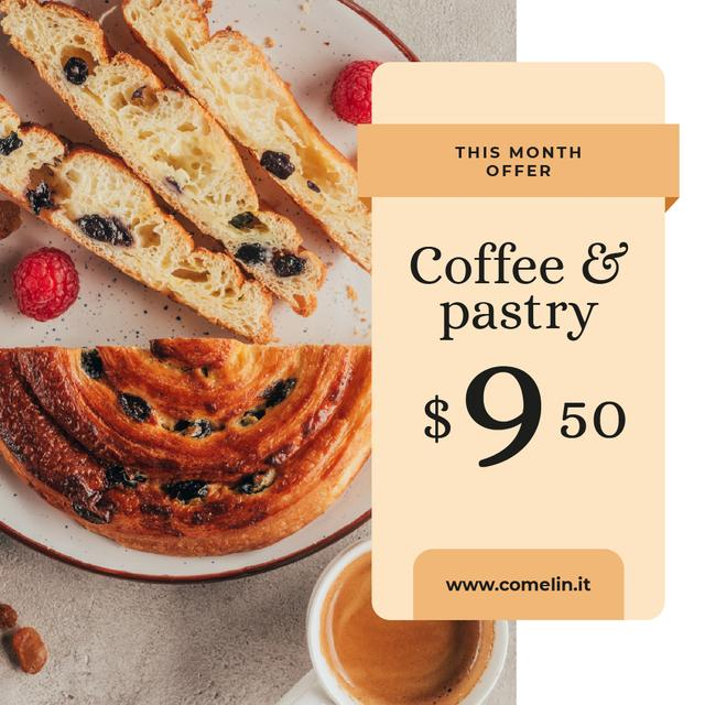Tasty Pie on plate with Coffee Instagram Design Template