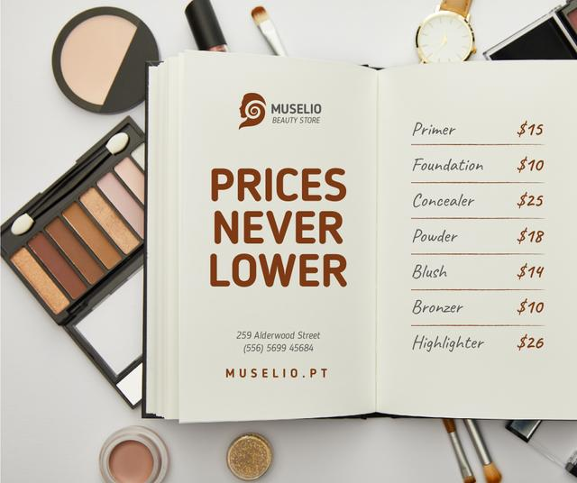 Template di design Beauty Sale with Makeup products and notebook Facebook