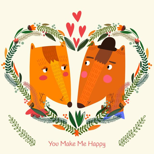 Ontwerpsjabloon van Instagram AD van Valentine's Day card with Foxes