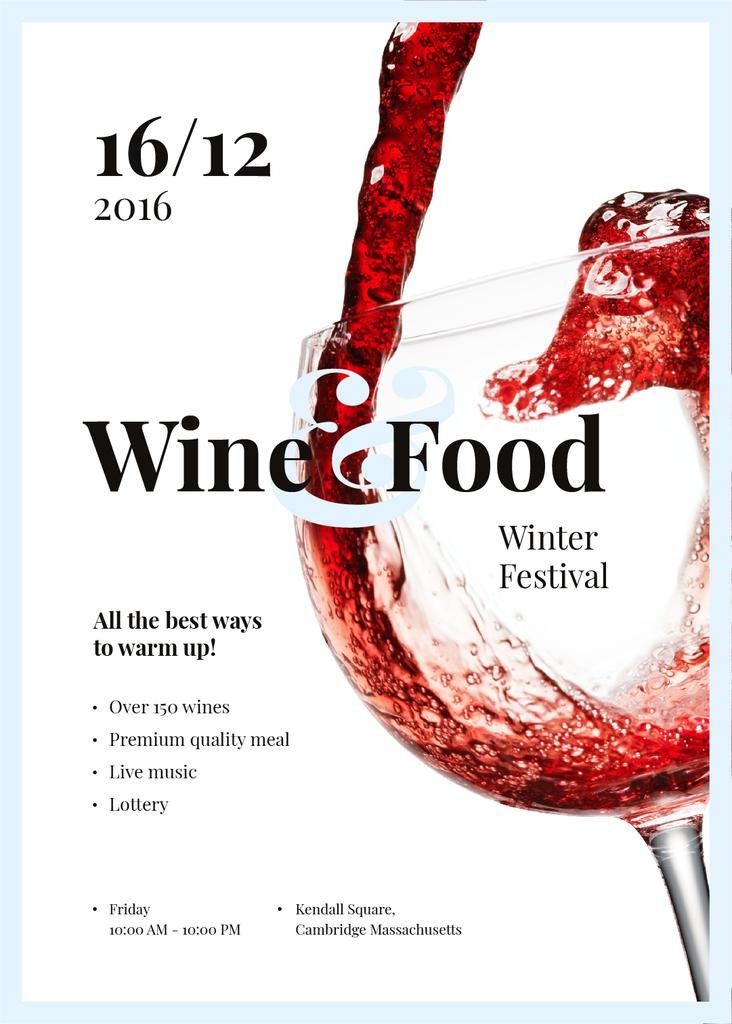 Pouring red wine in glass at Food Festival —デザインを作成する