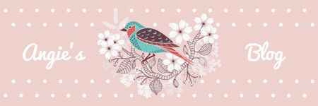 Plantilla de diseño de Blog Illustration Cute Bird on Pink Twitter