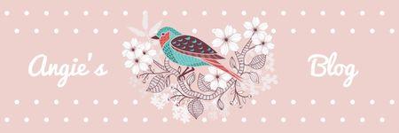 Blog Illustration Cute Bird on Pink Twitter Modelo de Design