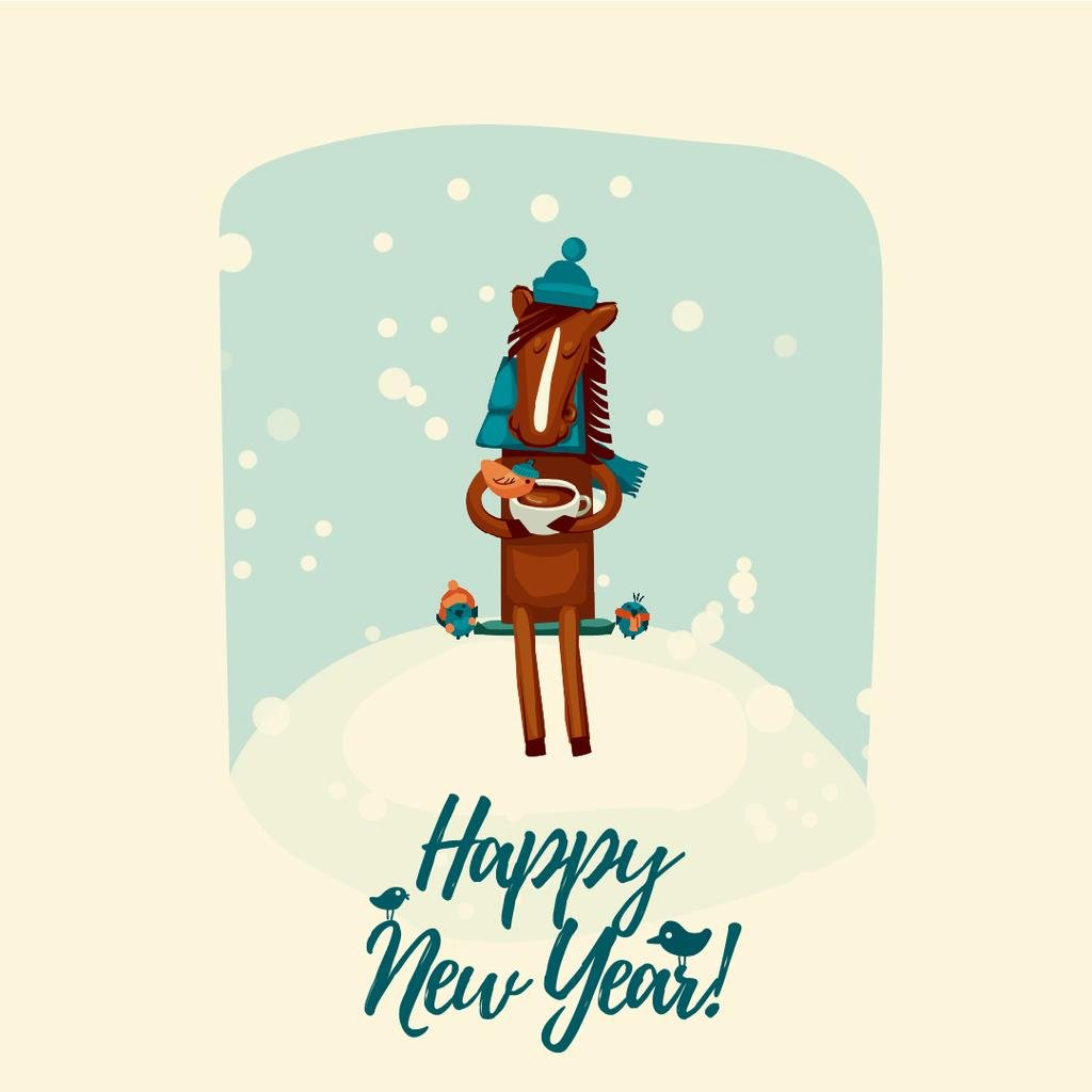 New Year Greeting with Horse on bench with birds — Crear un diseño