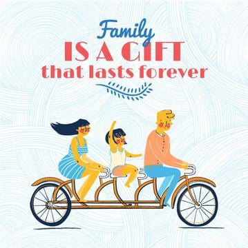 Illustration of family on bicycle. Family is a gift that lasts forever
