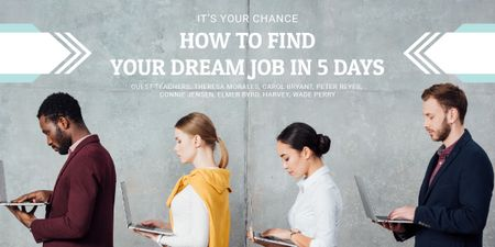 Dream Job Guide People with Laptops Image Design Template