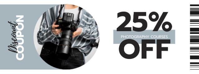 Photography Courses offer with Man using Camera Coupon – шаблон для дизайна
