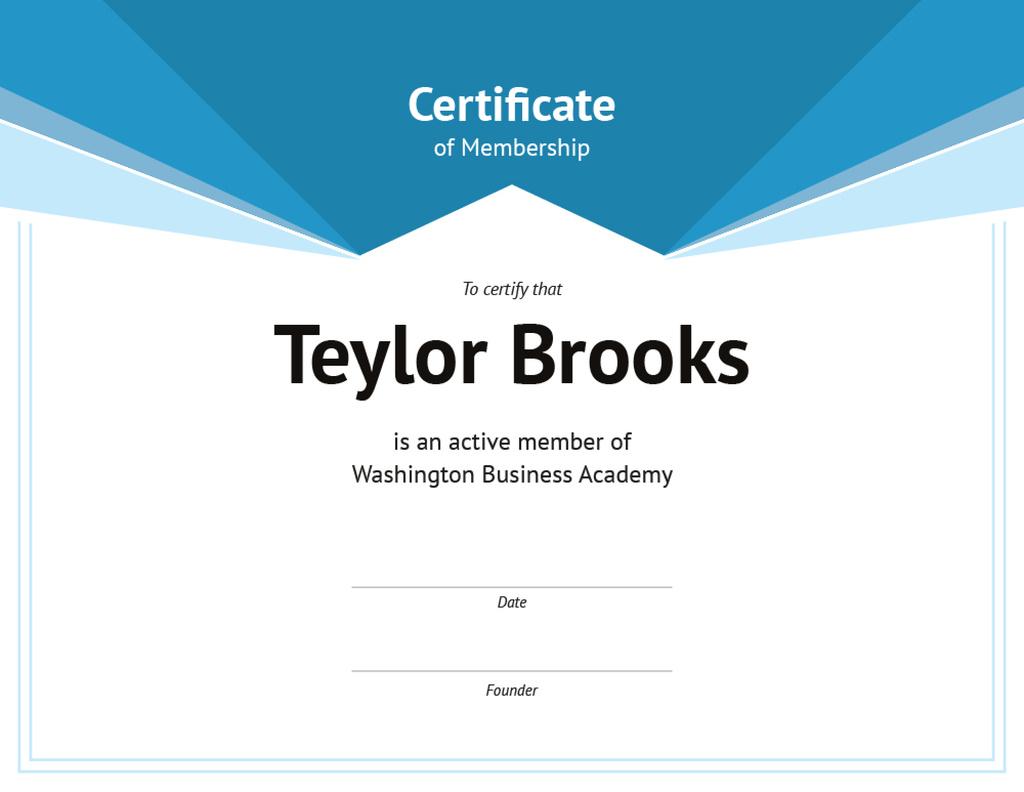 Business Academy Membership confirmation in blue — Crear un diseño