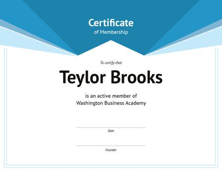 Ontwerpsjabloon van Certificate van Business Academy Membership confirmation in blue