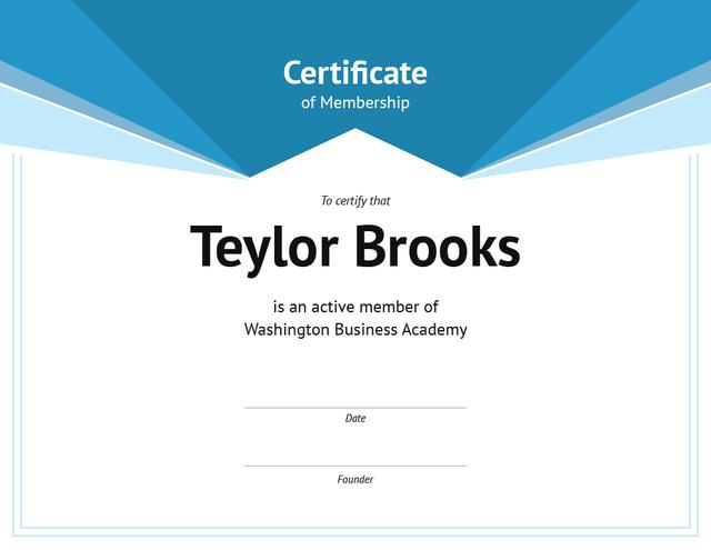 Business Academy Membership confirmation in blue Certificate Design Template