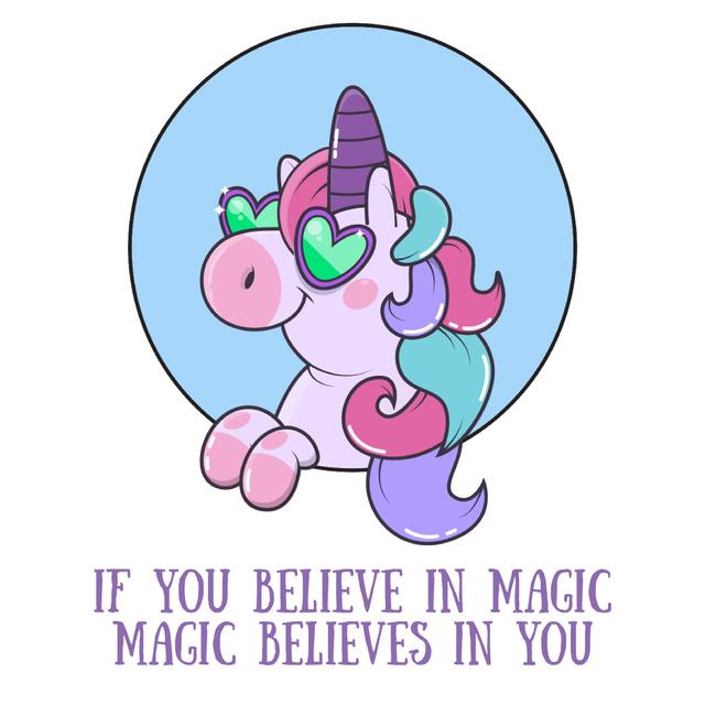 Ontwerpsjabloon van Animated Post van Funny Unicorn with Inspiration quote