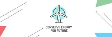 Conserve Energy Wind Turbine Icon | Twitter Header Template