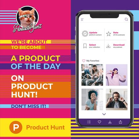 Product Hunt Promotion App interface on Screen Instagram Modelo de Design