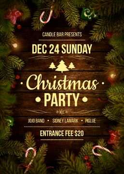 Christmas Party invitation with Garland and Tree frame