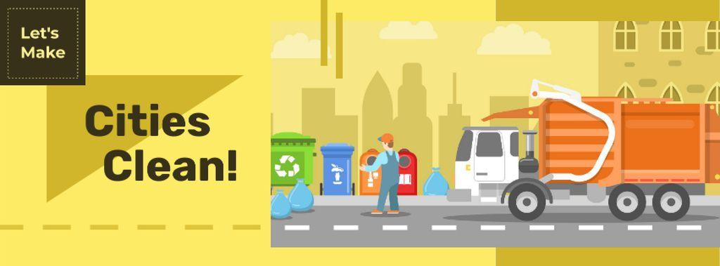 Garbage truck collecting waste Facebook cover Tasarım Şablonu