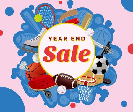 Year End sports equipment sale Facebook Design Template
