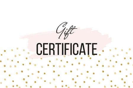 Ontwerpsjabloon van Gift Certificate van Cosmetics Offer on golden glitter