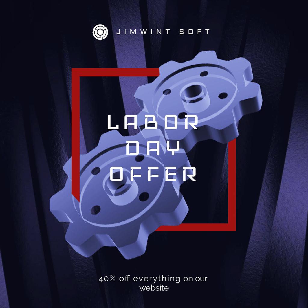 Labor Day Offer Blue Cogwheels Mechanism — Створити дизайн