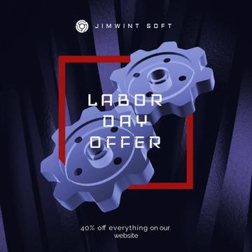 Labor Day Offer Blue Cogwheels Mechanism | Square Video Template
