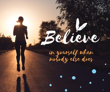 Inspiration Quote on Girl running on road