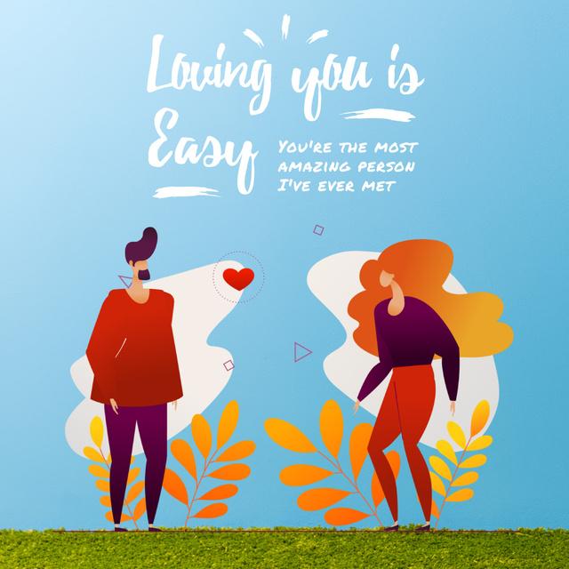 Loving Couple sending Heart on Valentine's Day Animated Post Design Template