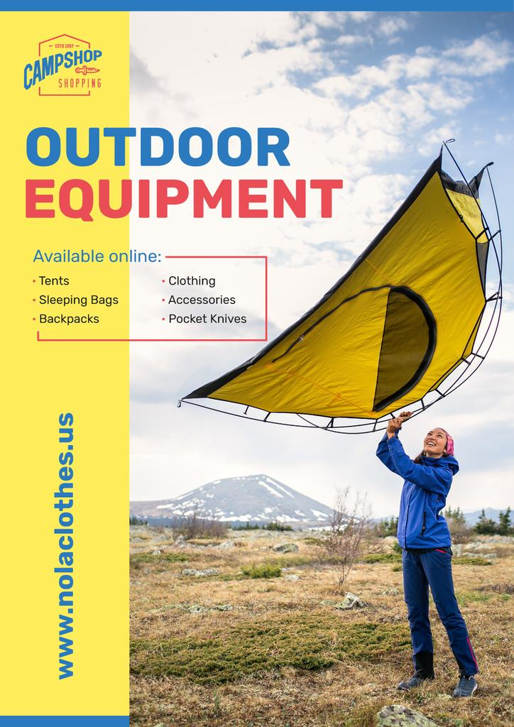 Outdoor Equipment Ad Woman Adjusting Tent | Poster Template — Créer un visuel