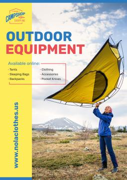 Outdoor Equipment Ad Woman Adjusting Tent