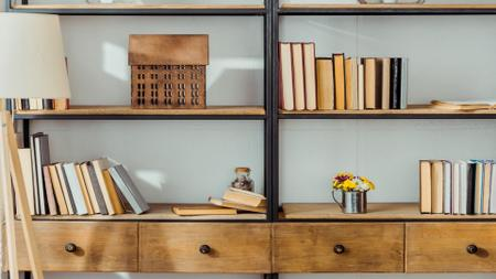 Plantilla de diseño de Wooden shelves with Books and Flowers Zoom Background