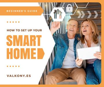 Couple Using Smart Home Application | Facebook Post Template