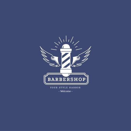 Plantilla de diseño de Barbershop Ad with Striped Lamp in Blue Logo