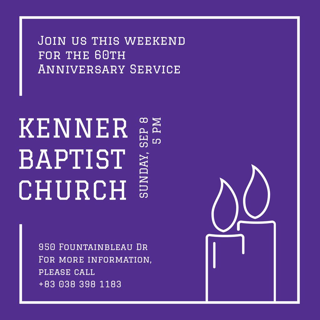 Invitation to Church on Purple — Maak een ontwerp