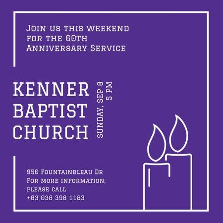 Invitation to Church on Purple Instagram Modelo de Design