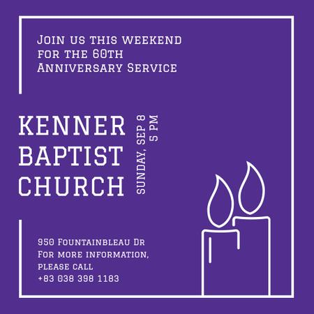 Plantilla de diseño de Invitation to Church on Purple Instagram