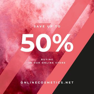 Sale Announcement Colorful Paint Blots in Red | Instagram Ad Template