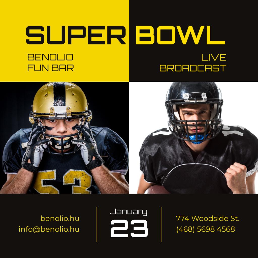Super Bowl Match Announcement Players in Uniform — Modelo de projeto