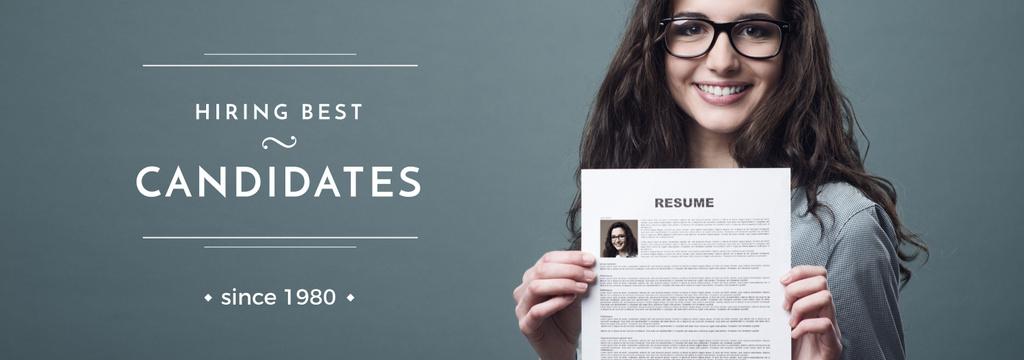 Hiring Candidates Girl Holding Her Resume Tumblr Design Template