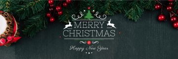 Christmas Greeting Fir Tree Branches | Twitter Header Template
