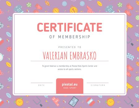 Kids Sport Center Membership confirmation Certificate Modelo de Design