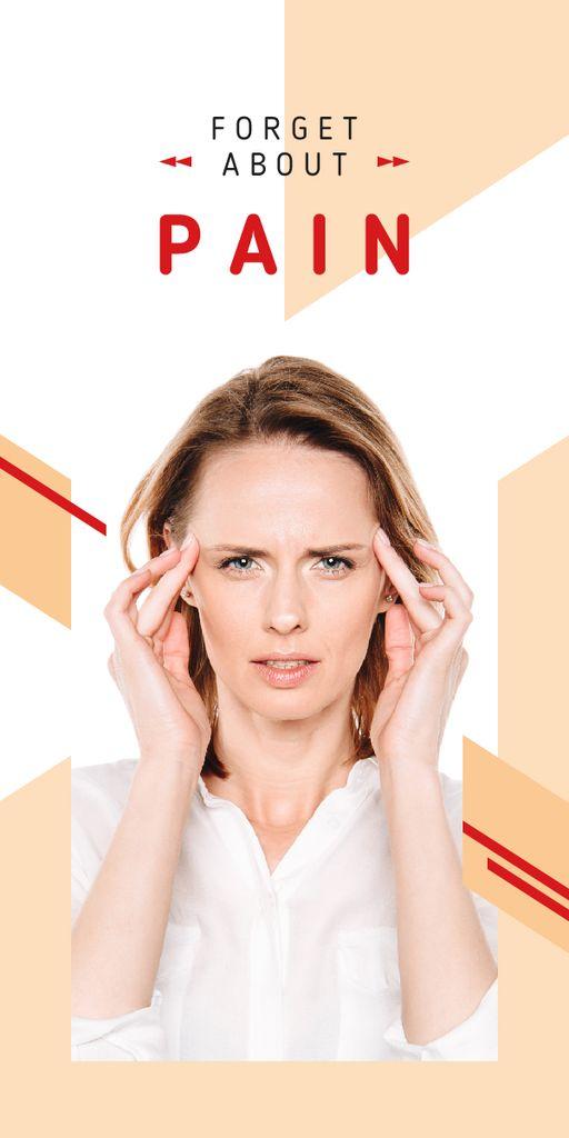 Ontwerpsjabloon van Graphic van Woman suffering from headache