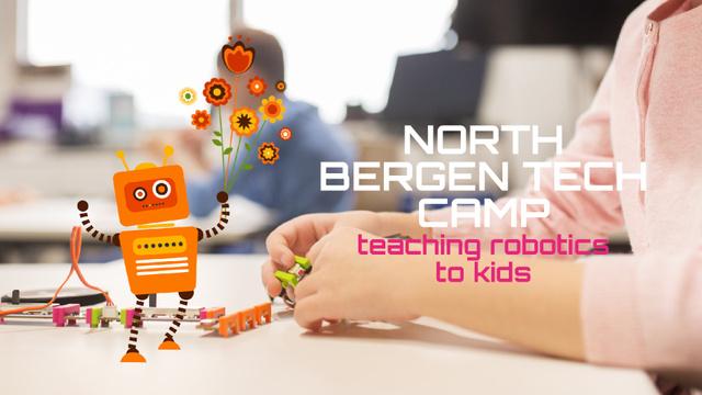 Robotics Camp Kid Assembling Details Full HD video Modelo de Design