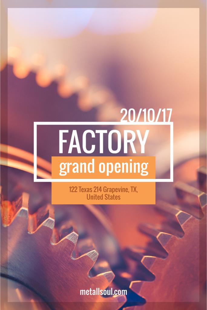 Factory Opening Announcement with Mechanism Cogwheels — Створити дизайн