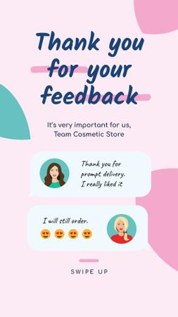 Plantilla de diseño de Customer Reviews of Cosmetic Store Instagram Story