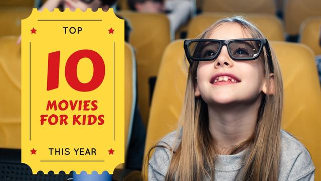 Movies for Kids Girl in Cinema in 3D Glasses Youtube Thumbnail Modelo de Design